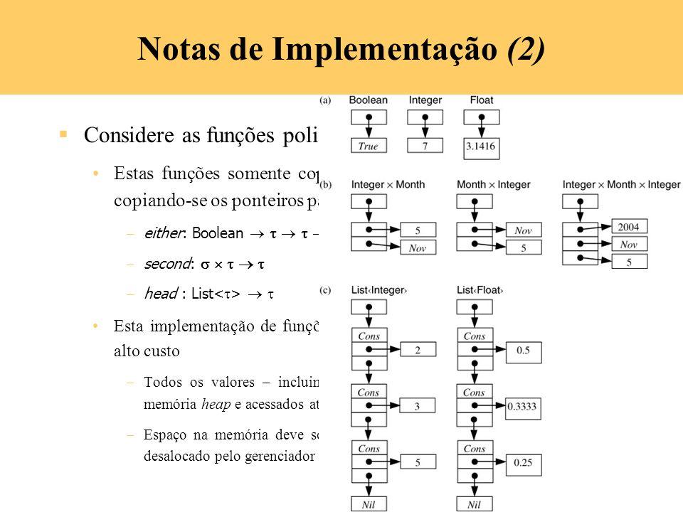 7-36 Notas de Implementação (2) Considere as funções polimórficas Estas funções somente copia valores do tipo e isto é implementado copiando-se os pon