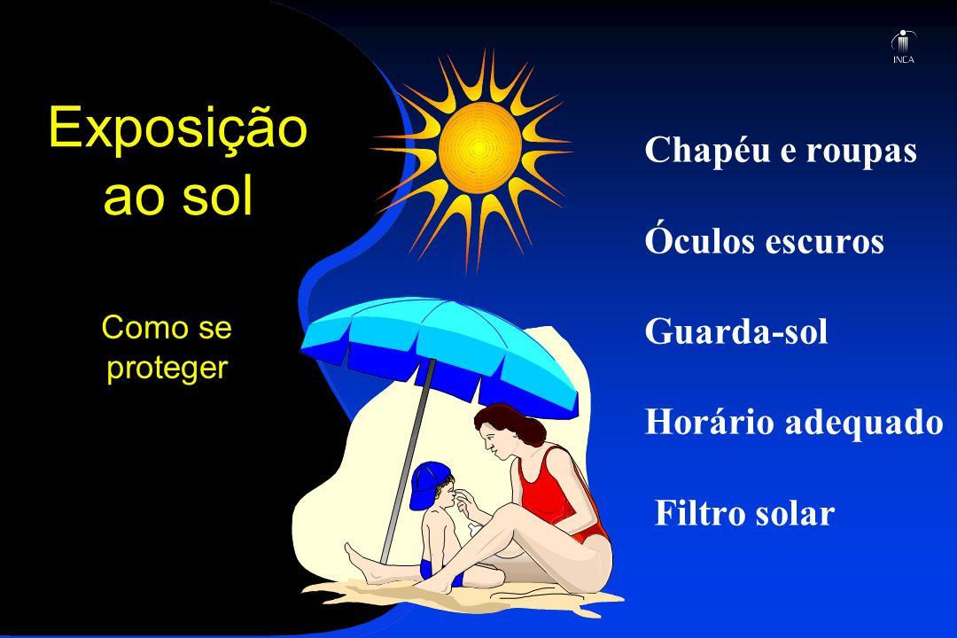Exposição ao sol Chapéu e roupas Óculos escuros Guarda-sol Horário adequado Filtro solar Como se proteger