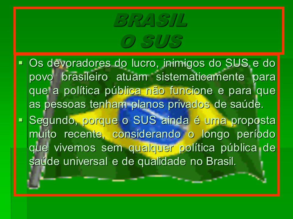 BRASIL O SUS Os devoradores do lucro, inimigos do SUS e do povo brasileiro atuam sistematicamente para que a política pública não funcione e para que