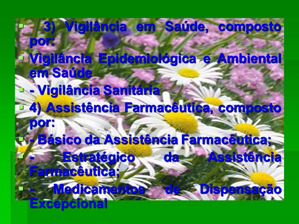 - 3) Vigilância em Saúde, composto por: - 3) Vigilância em Saúde, composto por: Vigilância Epidemiológica e Ambiental em Saúde Vigilância Epidemiológi