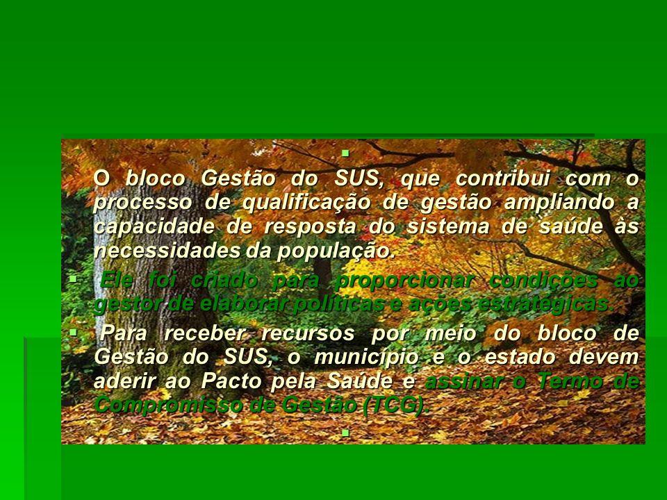 O bloco Gestão do SUS, que contribui com o processo de qualificação de gestão ampliando a capacidade de resposta do sistema de saúde às necessidades d