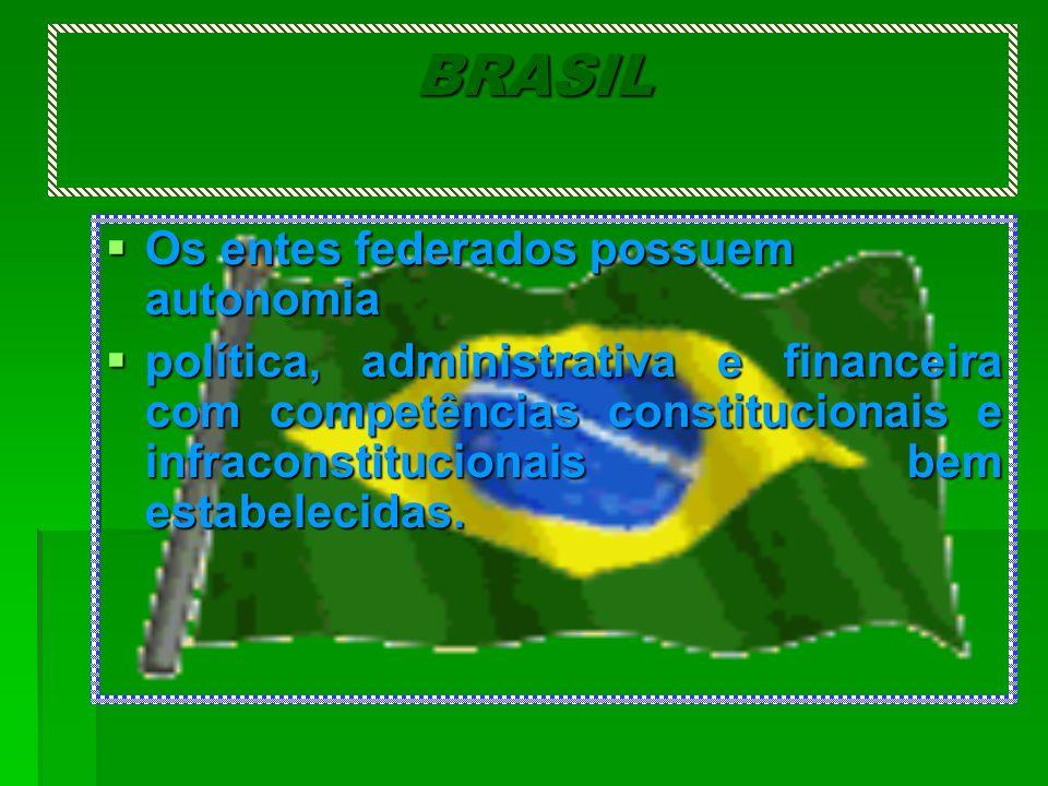 BRASIL Os entes federados possuem autonomia Os entes federados possuem autonomia política, administrativa e financeira com competências constitucionai