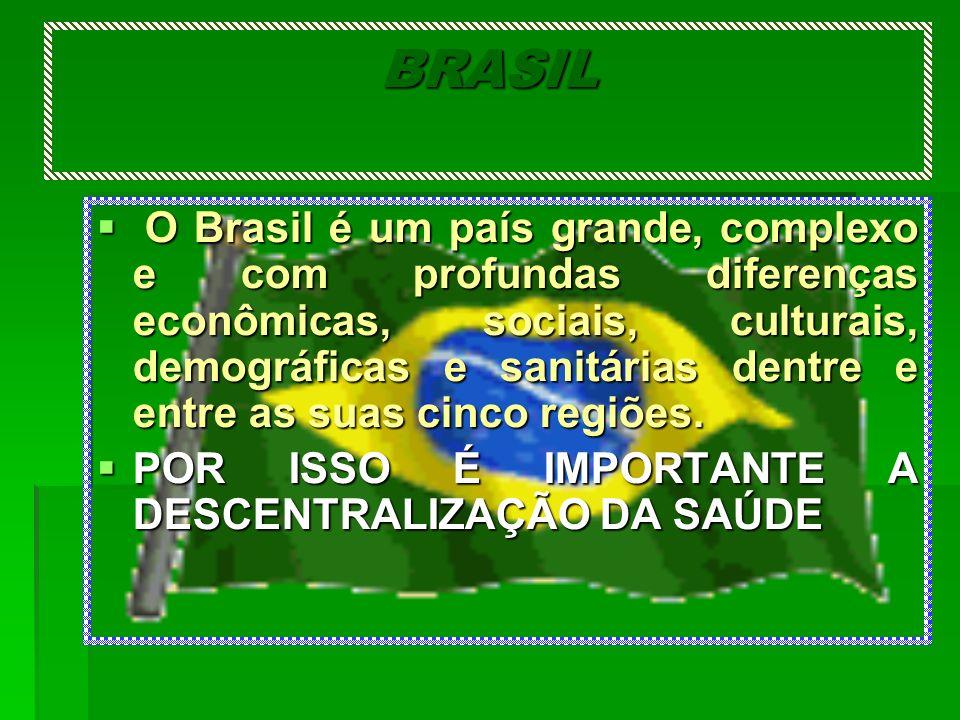 BRASIL O Brasil é um país grande, complexo e com profundas diferenças econômicas, sociais, culturais, demográficas e sanitárias dentre e entre as suas