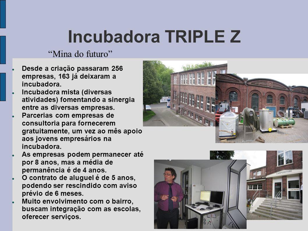 Mina do futuro Incubadora TRIPLE Z Desde a criação passaram 256 empresas, 163 já deixaram a incubadora. Incubadora mista (diversas atividades) fomenta