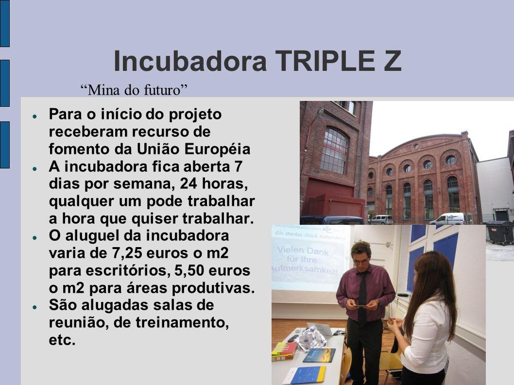 Incubadora TRIPLE Z Mina do futuro Para o início do projeto receberam recurso de fomento da União Européia A incubadora fica aberta 7 dias por semana,