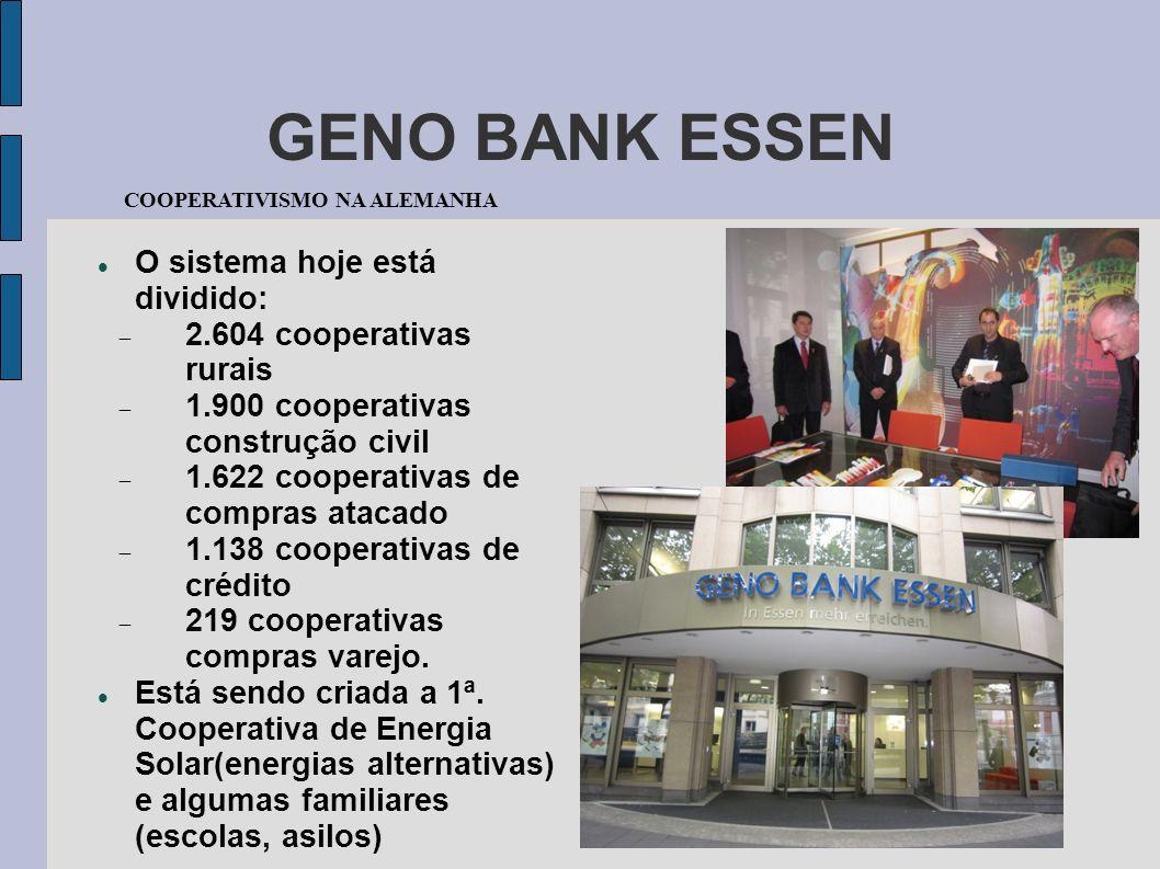 GENO BANK ESSEN O sistema hoje está dividido: 2.604 cooperativas rurais 1.900 cooperativas construção civil 1.622 cooperativas de compras atacado 1.13