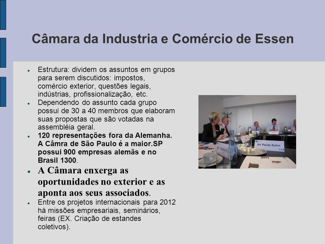 Câmara da Industria e Comércio de Essen Estrutura: dividem os assuntos em grupos para serem discutidos: impostos, comércio exterior, questões legais,