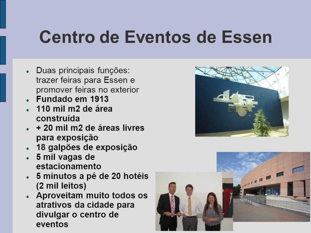 Centro de Eventos de Essen Duas principais funções: trazer feiras para Essen e promover feiras no exterior Fundado em 1913 110 mil m2 de área construí