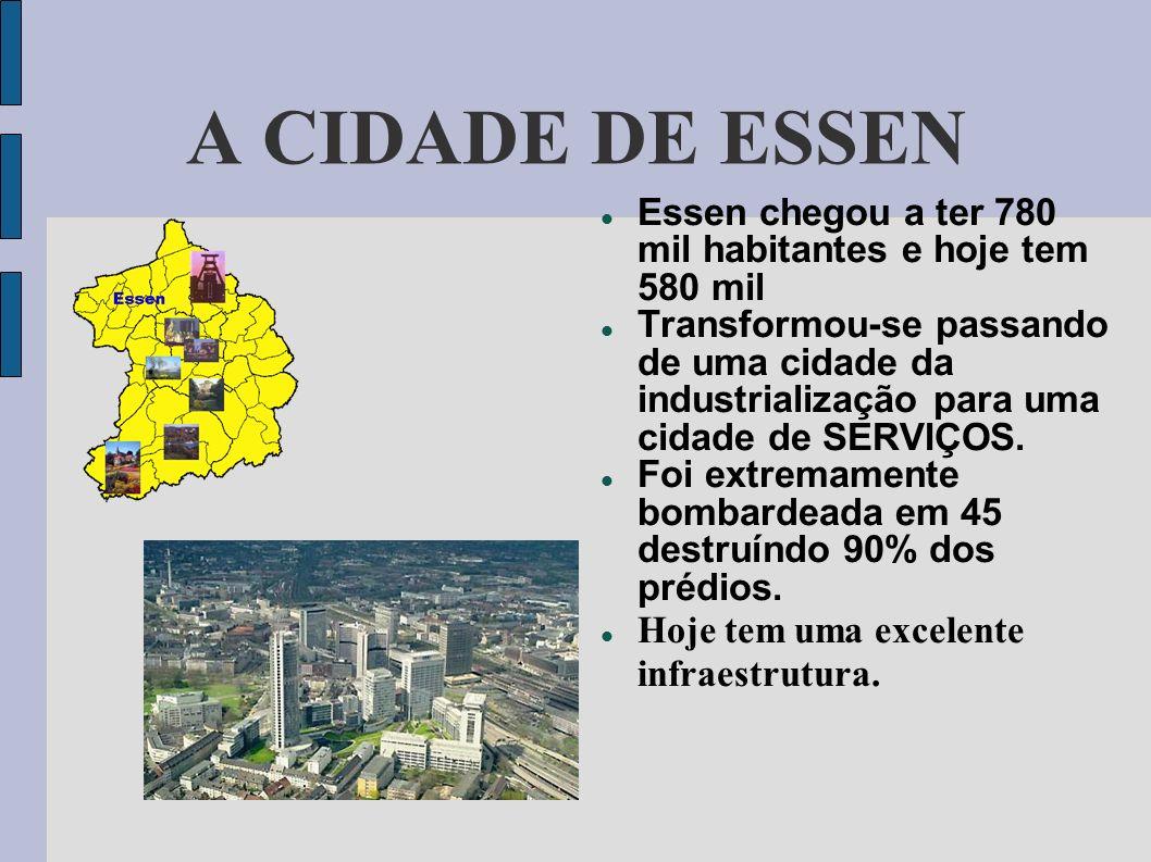Essen chegou a ter 780 mil habitantes e hoje tem 580 mil Transformou-se passando de uma cidade da industrialização para uma cidade de SERVIÇOS. Foi ex
