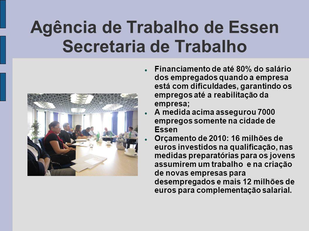 Agência de Trabalho de Essen Secretaria de Trabalho Financiamento de até 80% do salário dos empregados quando a empresa está com dificuldades, garanti