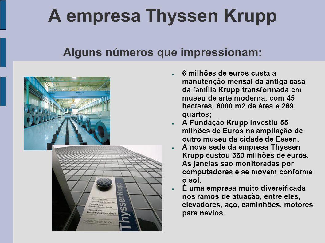 A empresa Thyssen Krupp Alguns números que impressionam: 6 milhões de euros custa a manutenção mensal da antiga casa da família Krupp transformada em