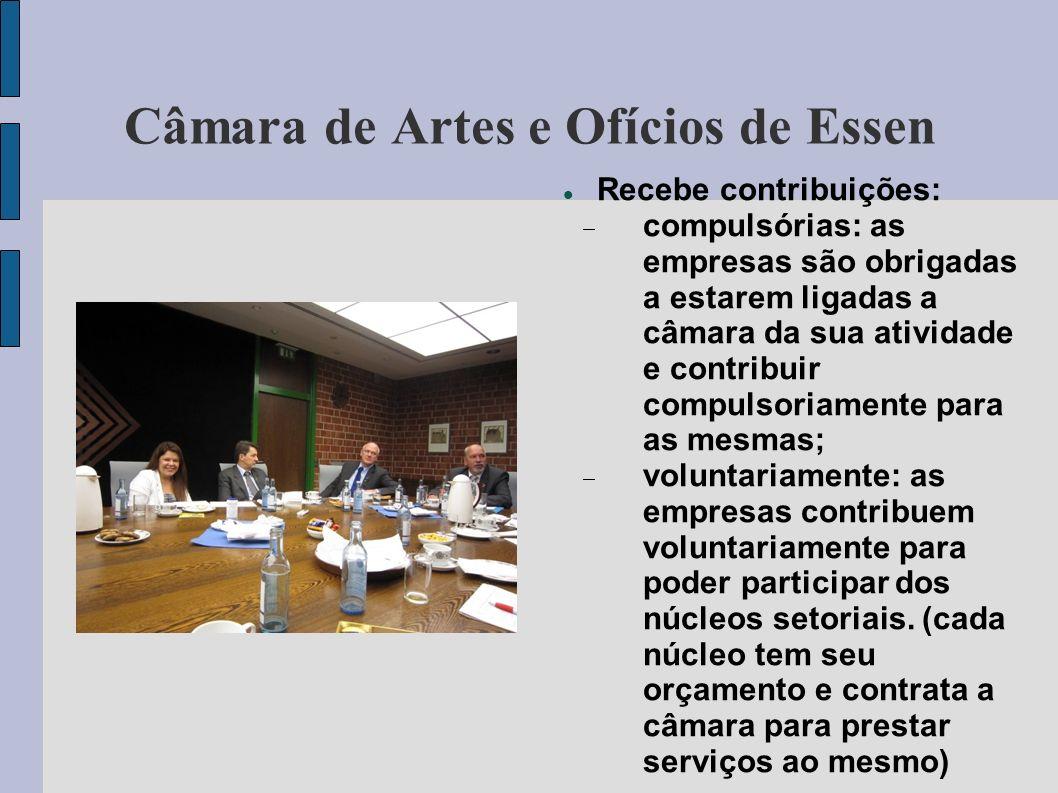Câmara de Artes e Ofícios de Essen Recebe contribuições: compulsórias: as empresas são obrigadas a estarem ligadas a câmara da sua atividade e contrib