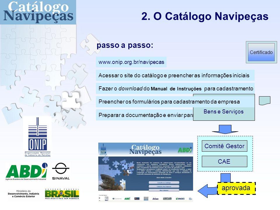 2. O Catálogo Navipeças CAE Comitê Gestor Fazer o download do Manual de Instruções para cadastramento Preparar a documentação e enviar para a ONIP For