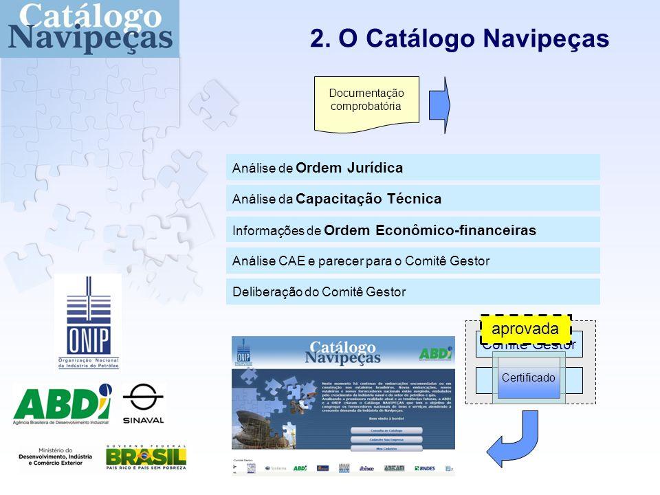 2. O Catálogo Navipeças Comitê Gestor CAE Análise da Capacitação Técnica Informações de Ordem Econômico-financeiras Análise de Ordem Jurídica Análise
