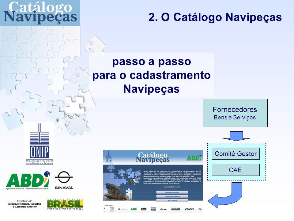 2. O Catálogo Navipeças Fornecedores Bens e Serviços CAE Comitê Gestor passo a passo para o cadastramento Navipeças