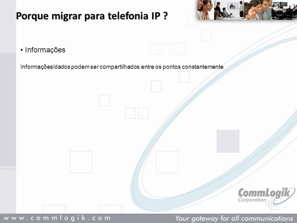 Porque migrar para telefonia IP ? Informações Informações/dados podem ser compartilhados entre os pontos constantemente