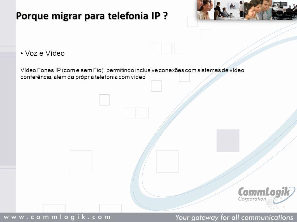 Porque migrar para telefonia IP ? Voz e Vídeo Vídeo Fones IP (com e sem Fio), permitindo inclusive conexões com sistemas de vídeo conferência, além da