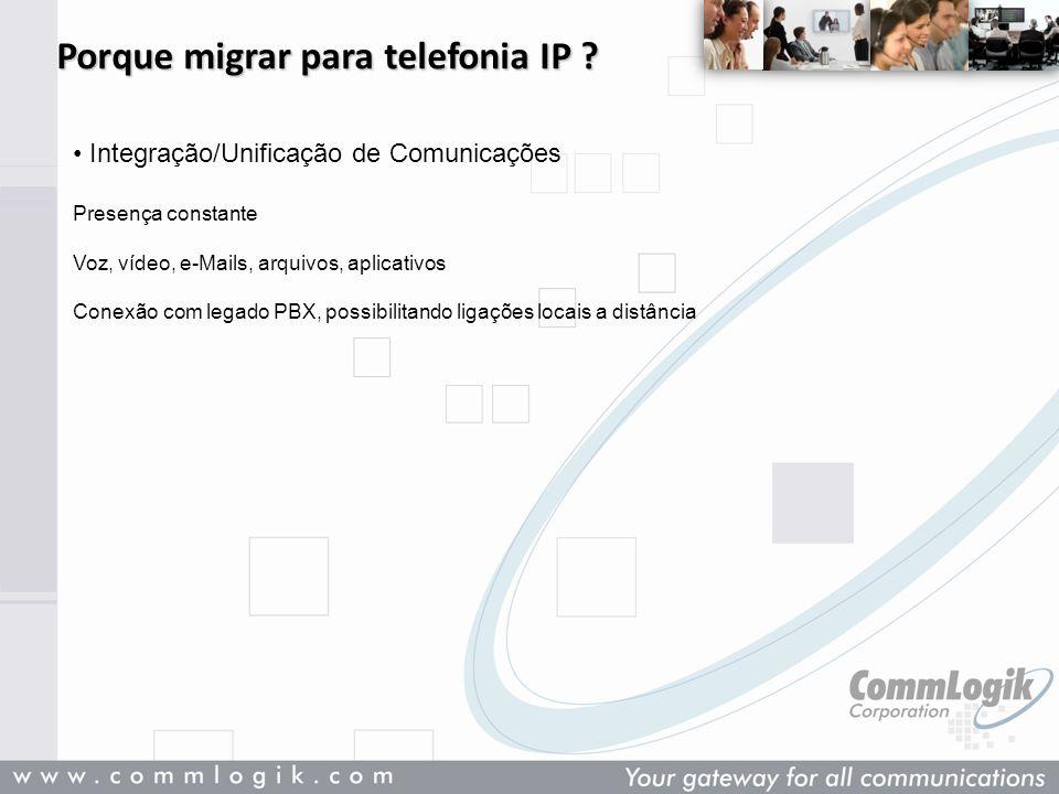 Porque migrar para telefonia IP ? Integração/Unificação de Comunicações Presença constante Voz, vídeo, e-Mails, arquivos, aplicativos Conexão com lega
