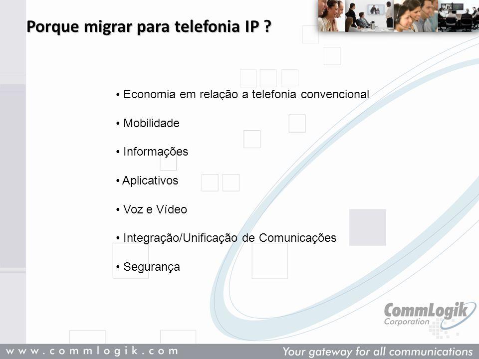 Porque migrar para telefonia IP ? Economia em relação a telefonia convencional Mobilidade Informações Aplicativos Voz e Vídeo Integração/Unificação de
