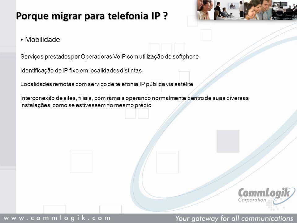 Porque migrar para telefonia IP ? Mobilidade Serviços prestados por Operadoras VoIP com utilização de softphone Identificação de IP fixo em localidade