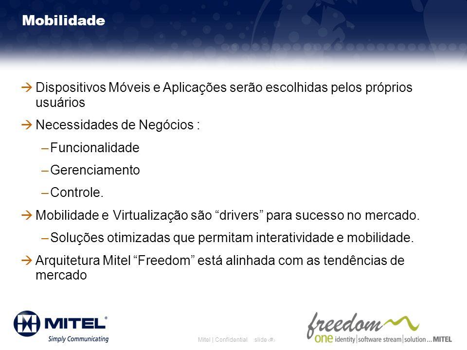 slide 15Mitel | Confidential Mobilidade Dispositivos Móveis e Aplicações serão escolhidas pelos próprios usuários Necessidades de Negócios : –Funciona