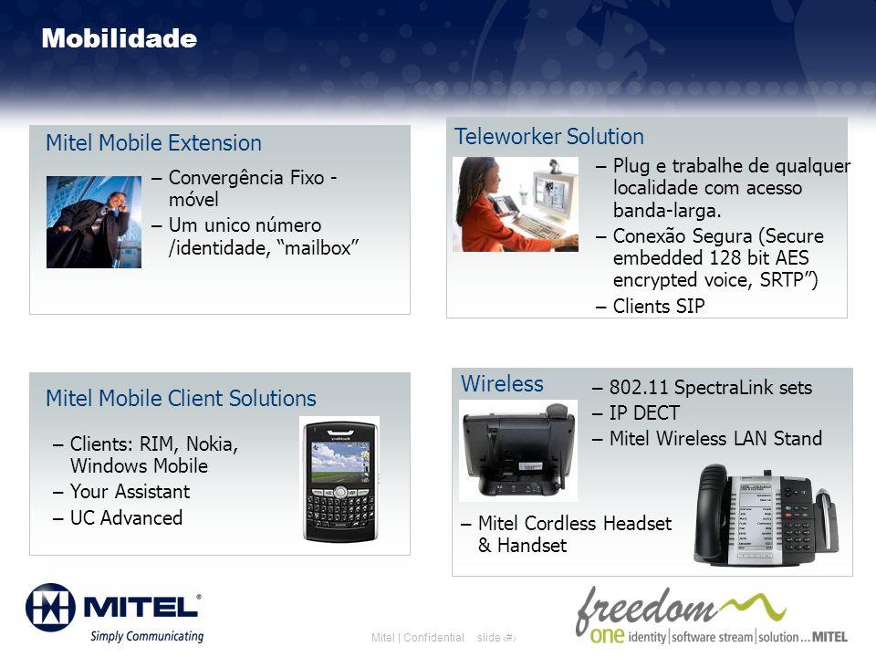 slide 19Mitel | Confidential Mobilidade Mitel Mobile Extension – Convergência Fixo - móvel – Um unico número /identidade, mailbox Teleworker Solution