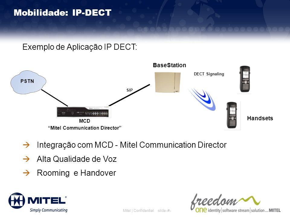 slide 20Mitel | Confidential Mobilidade: IP-DECT Exemplo de Aplicação IP DECT: Integração com MCD - Mitel Communication Director Alta Qualidade de Voz