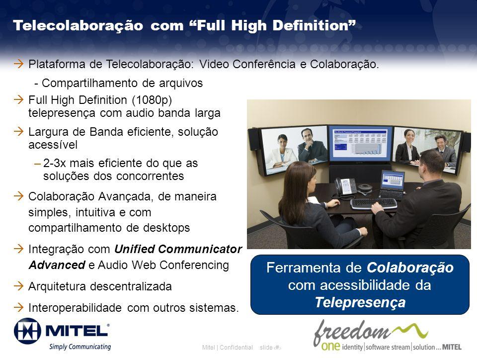 slide 24Mitel | Confidential Full High Definition (1080p) telepresença com audio banda larga Largura de Banda eficiente, solução acessível –2-3x mais