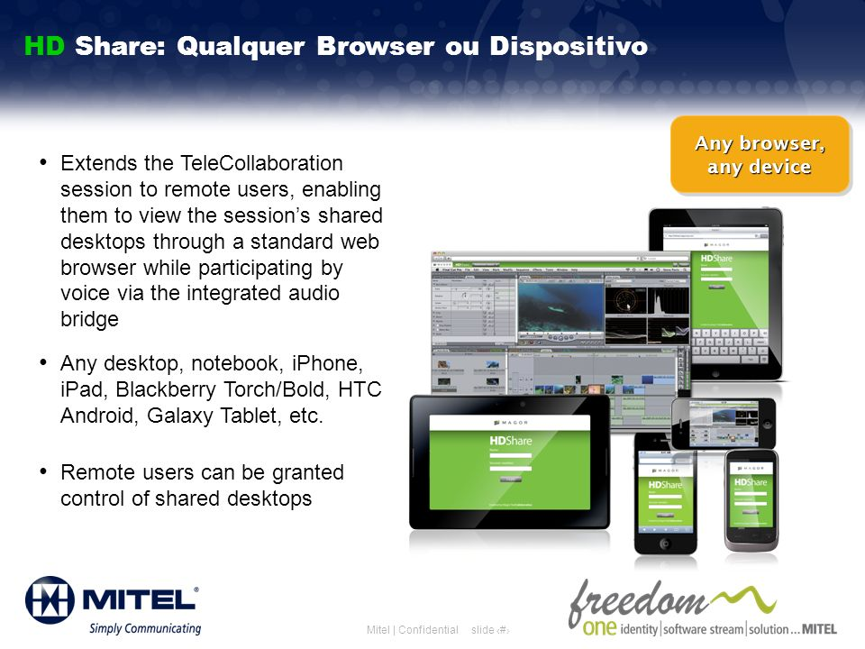 slide 26Mitel | Confidential Extends the TeleCollaboration session to remote users, enabling them to view the sessions shared desktops through a stand