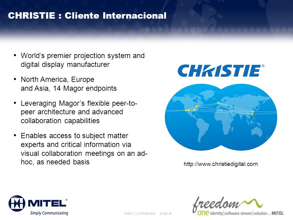slide 27Mitel | Confidential Worlds premier projection system and digital display manufacturer North America, Europe and Asia, 14 Magor endpoints Leve