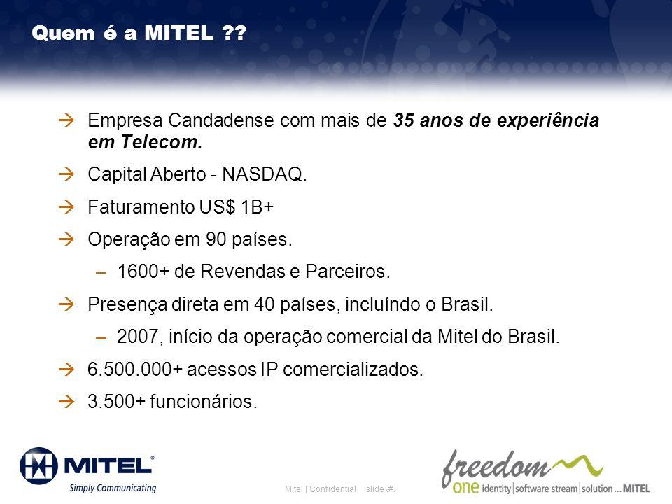 slide 3Mitel | Confidential Empresa Candadense com mais de 35 anos de experiência em Telecom. Capital Aberto - NASDAQ. Faturamento US$ 1B+ Operação em
