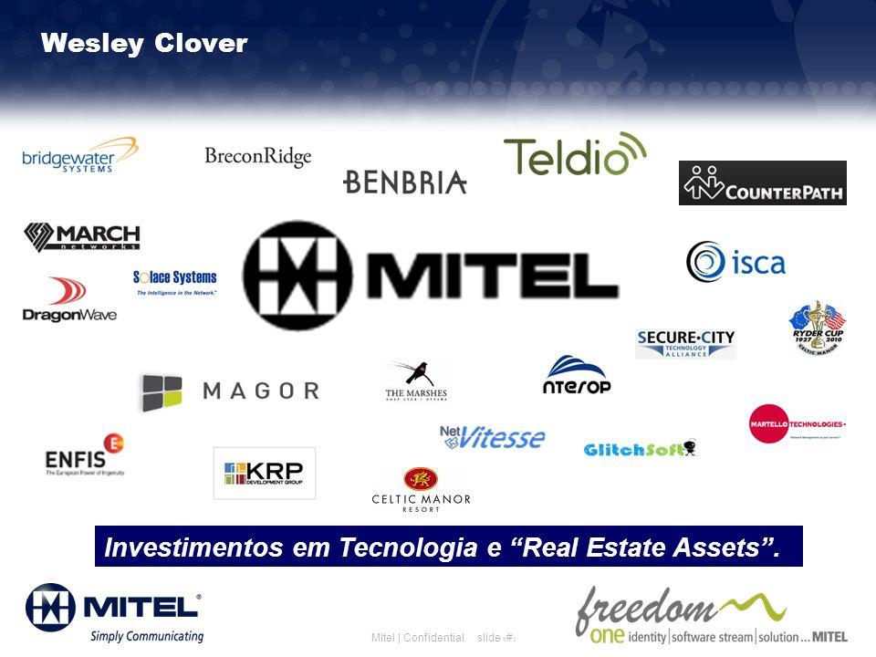 slide 4Mitel | Confidential Wesley Clover Investimentos em Tecnologia e Real Estate Assets.
