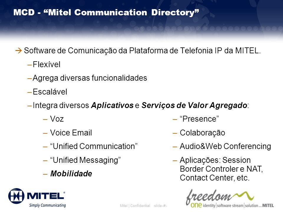slide 6Mitel | Confidential MCD - Mitel Communication Directory Software de Comunicação da Plataforma de Telefonia IP da MITEL. –Flexível –Agrega dive