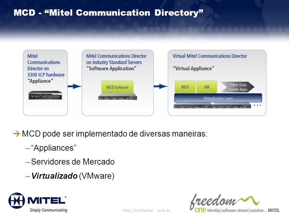 slide 7Mitel | Confidential MCD - Mitel Communication Directory MCD pode ser implementado de diversas maneiras: –Appliances –Servidores de Mercado –Vi