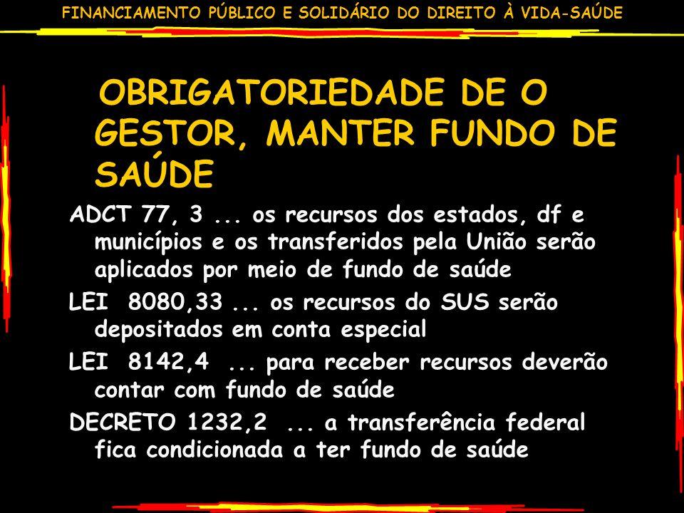 FINANCIAMENTO PÚBLICO E SOLIDÁRIO DO DIREITO À VIDA-SAÚDE OBRIGATORIEDADE DE O GESTOR, MANTER FUNDO DE SAÚDE ADCT 77, 3...