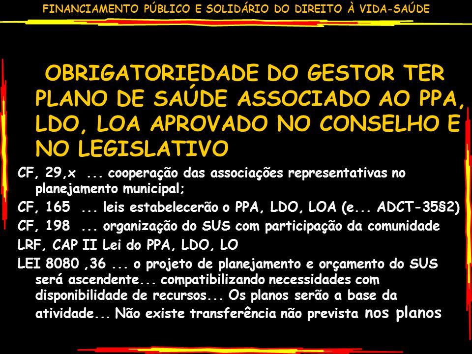 FINANCIAMENTO PÚBLICO E SOLIDÁRIO DO DIREITO À VIDA-SAÚDE OBRIGATORIEDADE DO GESTOR TER PLANO DE SAÚDE ASSOCIADO AO PPA, LDO, LOA APROVADO NO CONSELHO E NO LEGISLATIVO CF, 29,x...