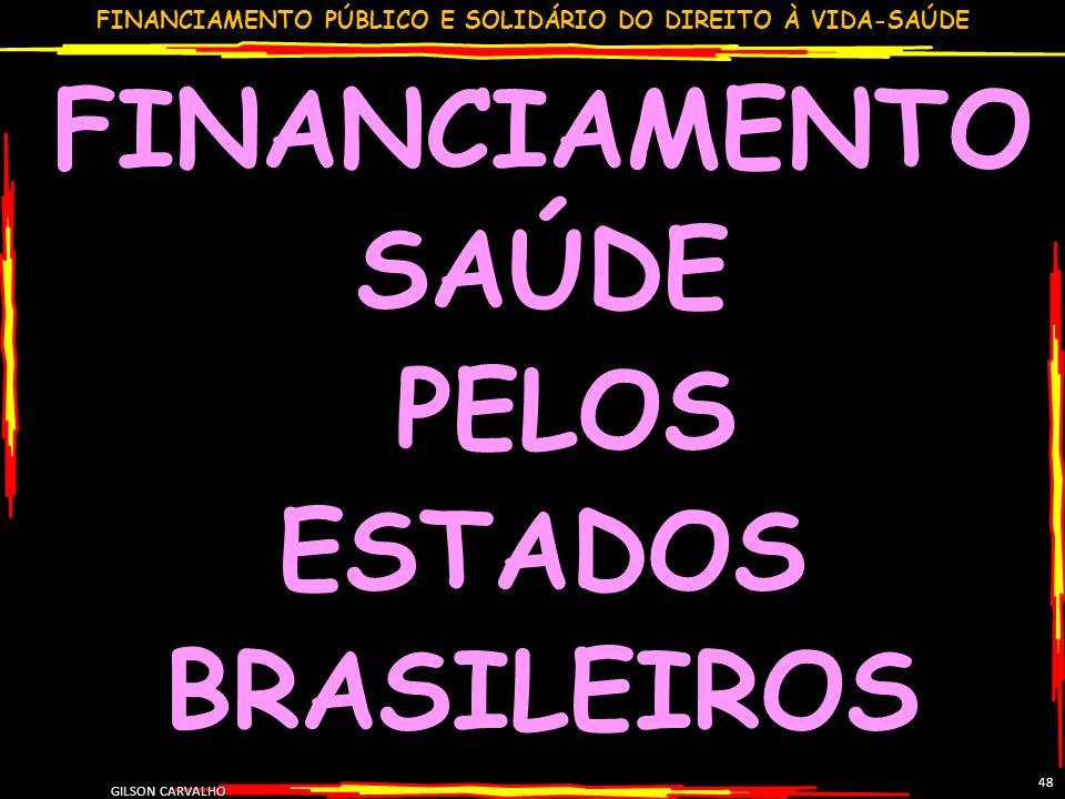 FINANCIAMENTO PÚBLICO E SOLIDÁRIO DO DIREITO À VIDA-SAÚDE GILSON CARVALHO 48 FINANCIAMENTO SAÚDE PELOS ESTADOS BRASILEIROS