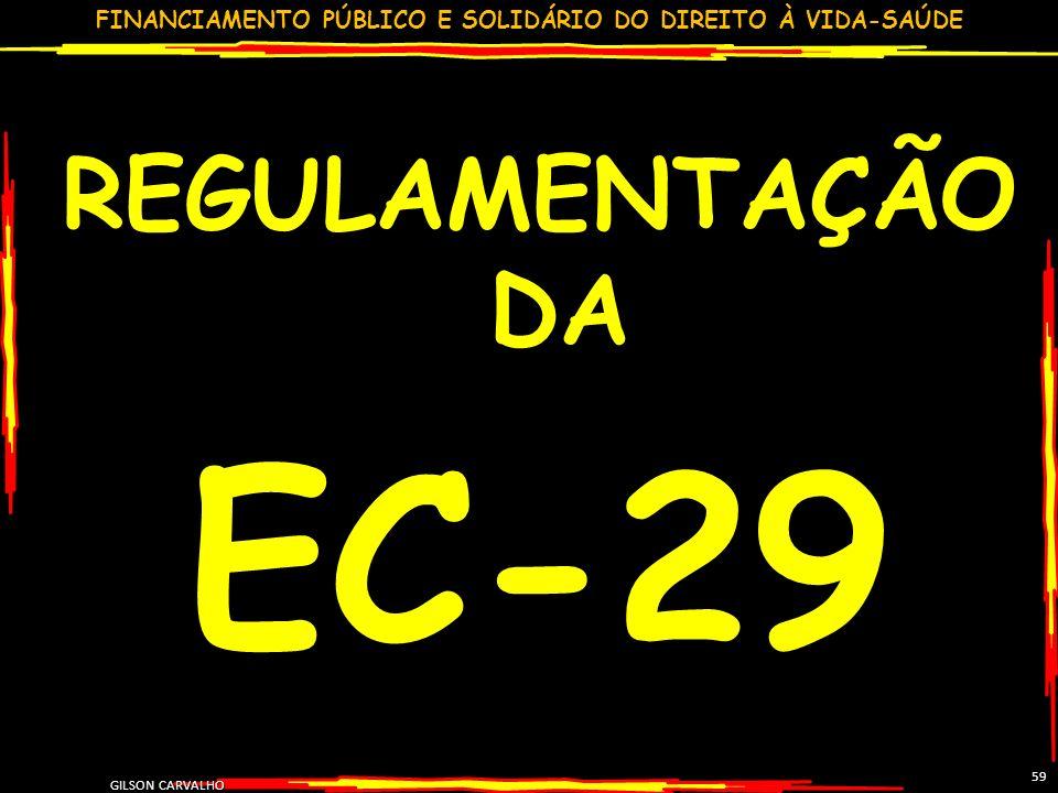 FINANCIAMENTO PÚBLICO E SOLIDÁRIO DO DIREITO À VIDA-SAÚDE GILSON CARVALHO 59 REGULAMENTAÇÃO DA EC-29