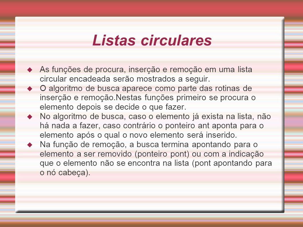 Listas circulares As funções de procura, inserção e remoção em uma lista circular encadeada serão mostrados a seguir. O algoritmo de busca aparece com