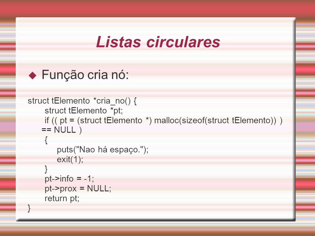 Listas circulares Função cria nó: struct tElemento *cria_no() { struct tElemento *pt; if (( pt = (struct tElemento *) malloc(sizeof(struct tElemento))