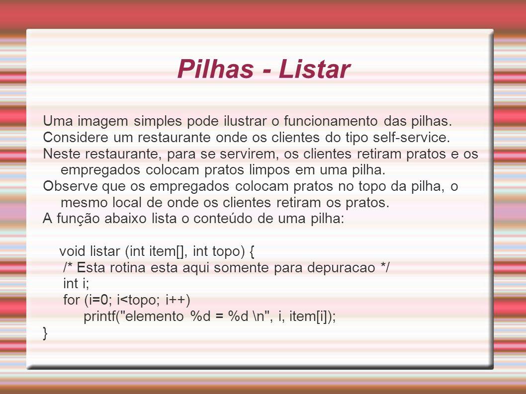 Pilhas - Listar Uma imagem simples pode ilustrar o funcionamento das pilhas. Considere um restaurante onde os clientes do tipo self-service. Neste res