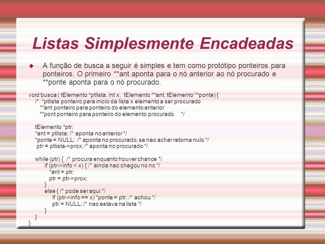 Listas circulares Função cria nó: struct tElemento *cria_no() { struct tElemento *pt; if (( pt = (struct tElemento *) malloc(sizeof(struct tElemento)) ) == NULL ) { puts( Nao há espaço. ); exit(1); } pt->info = -1; pt->prox = NULL; return pt; }