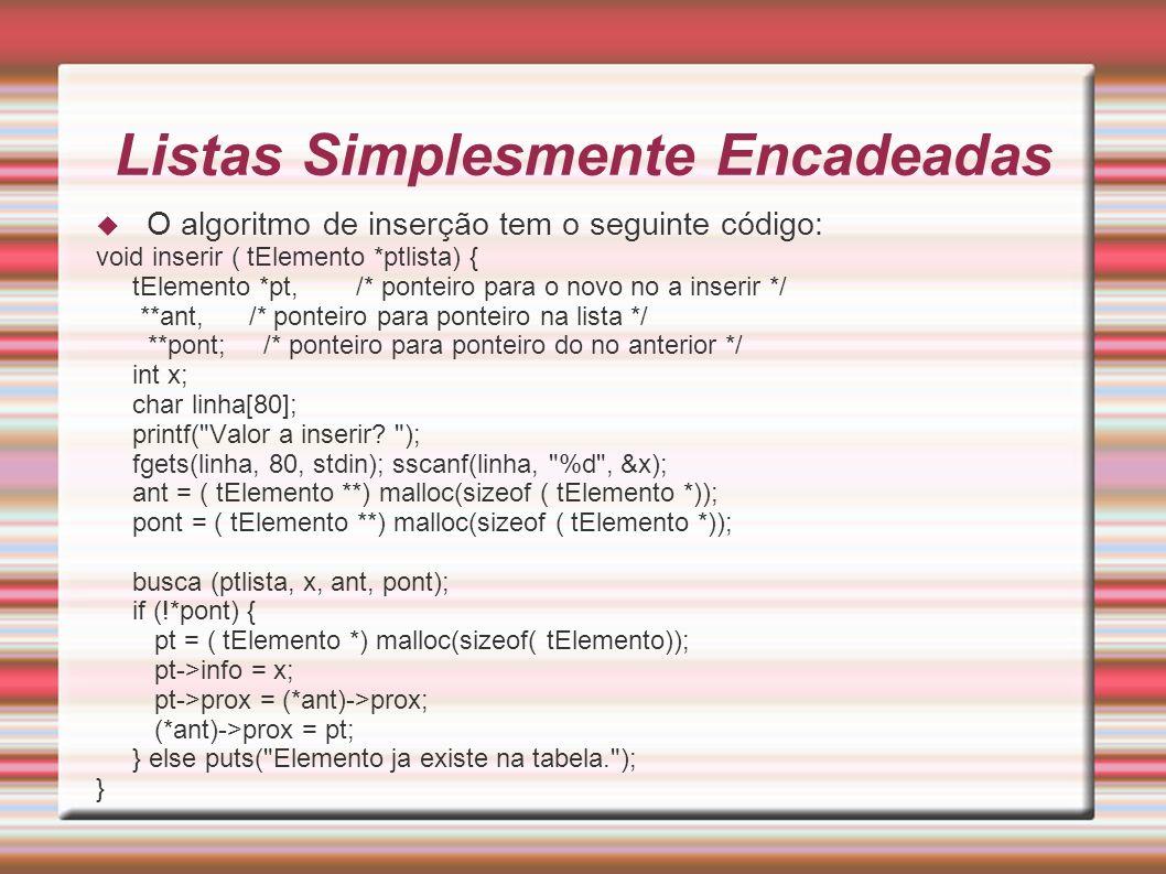 Listas Simplesmente Encadeadas O algoritmo de inserção tem o seguinte código: void inserir ( tElemento *ptlista) { tElemento *pt, /* ponteiro para o n