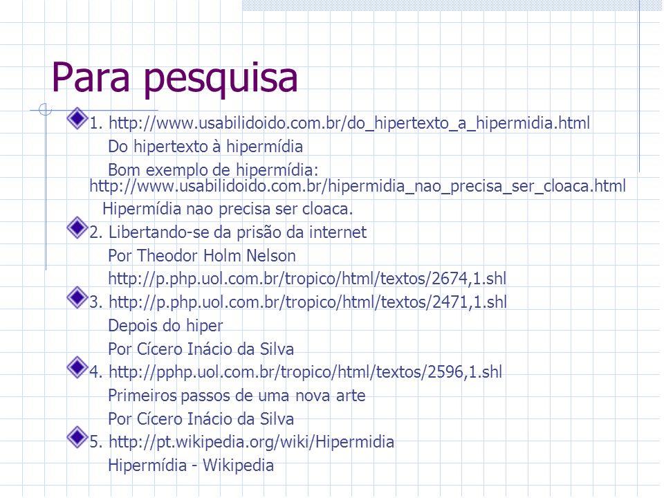 Para pesquisa 1. http://www.usabilidoido.com.br/do_hipertexto_a_hipermidia.html Do hipertexto à hipermídia Bom exemplo de hipermídia: http://www.usabi