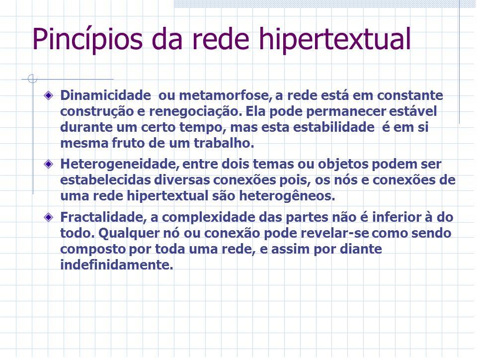 Pincípios da rede hipertextual Dinamicidade ou metamorfose, a rede está em constante construção e renegociação. Ela pode permanecer estável durante um