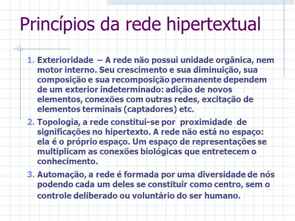 Princípios da rede hipertextual 1.Exterioridade – A rede não possui unidade orgânica, nem motor interno. Seu crescimento e sua diminuição, sua composi