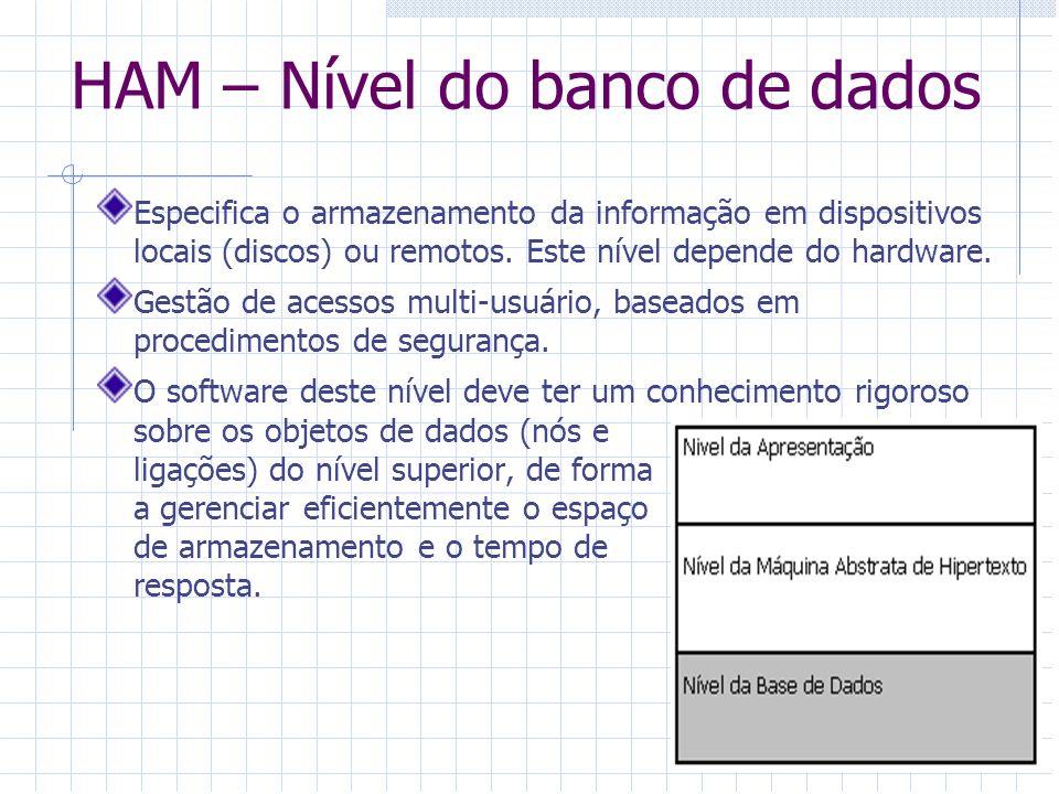 HAM – Nível do banco de dados Especifica o armazenamento da informação em dispositivos locais (discos) ou remotos. Este nível depende do hardware. Ges