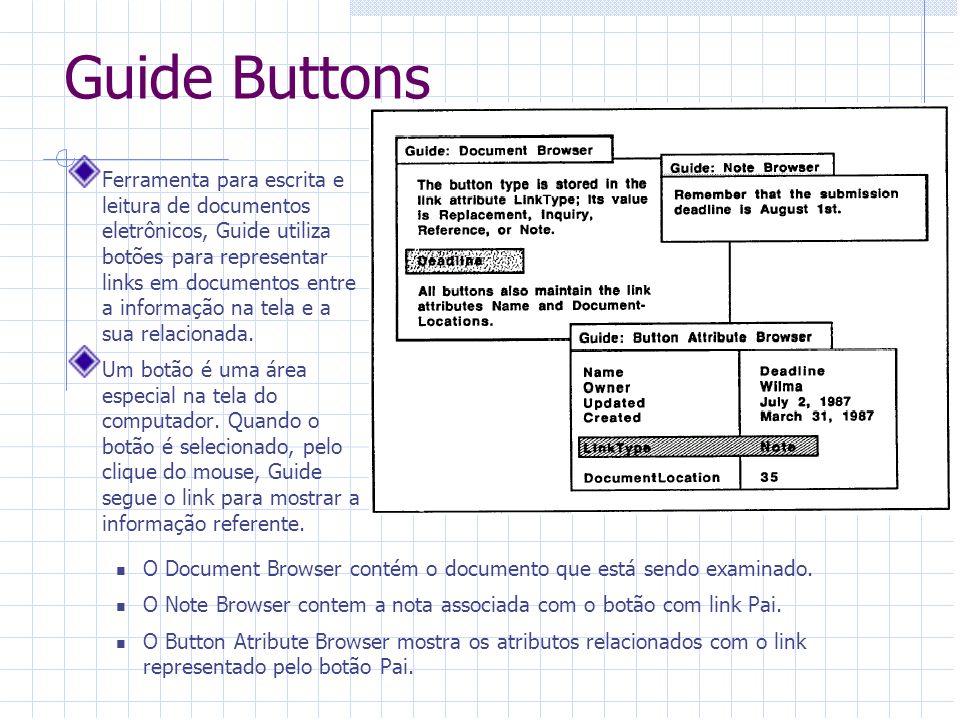 Guide Buttons Ferramenta para escrita e leitura de documentos eletrônicos, Guide utiliza botões para representar links em documentos entre a informaçã