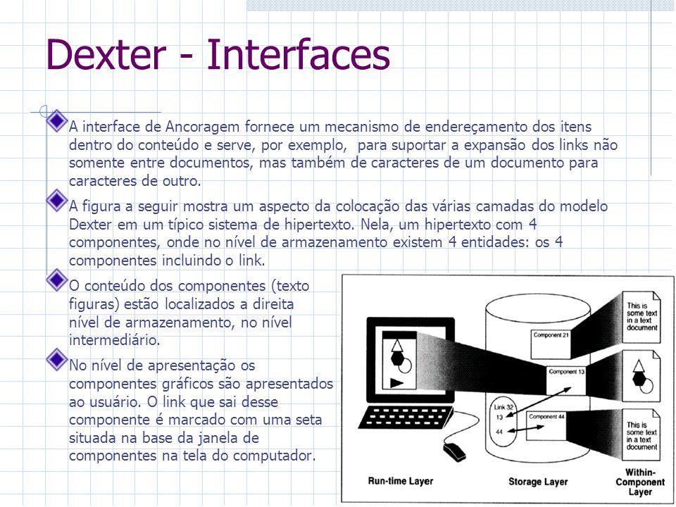 Dexter - Características Apresenta um modelo formal e genérico para descrição e comparação de sistemas hipermídia.