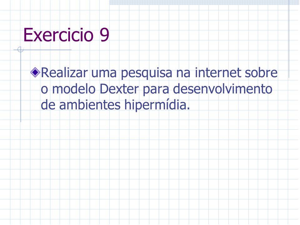 Exercicio 9 Realizar uma pesquisa na internet sobre o modelo Dexter para desenvolvimento de ambientes hipermídia.